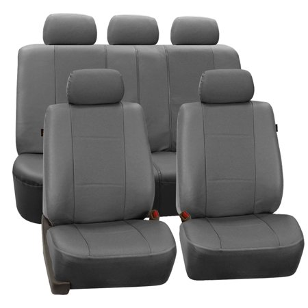 FH Group Gray Deluxe Faux Leather Airbag Compatible and Split Bench Car Seat Covers, Full Set