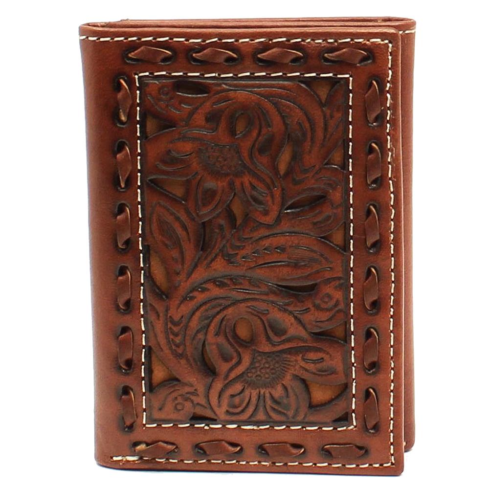 Nocona Western Mens Wallet Leather Rodeo Weave Cross Cutout Brown N5411944