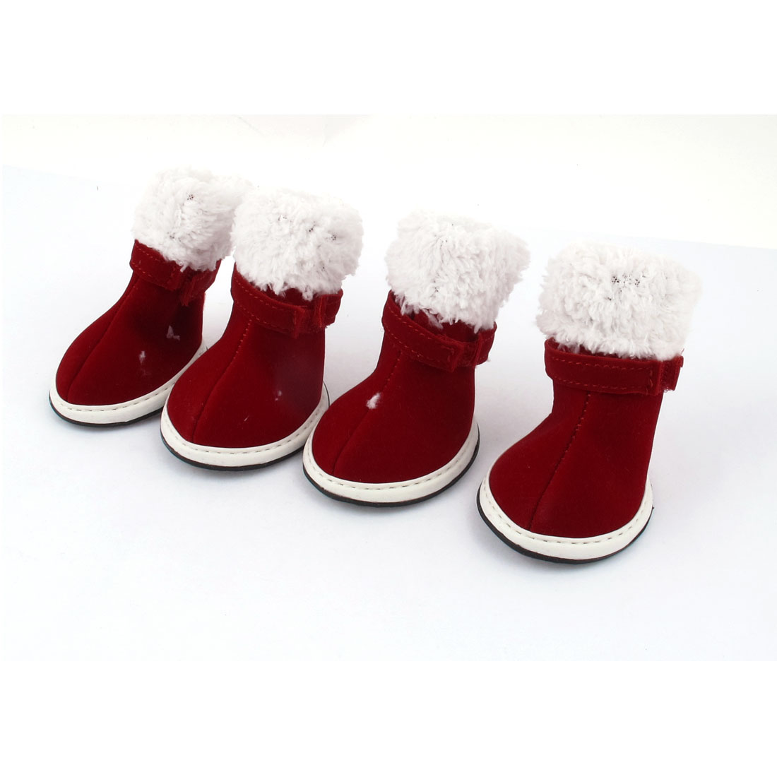 Unique Bargains 2 Pair Pet Dog Winter Warm Christmas Shoes Boots Booties Red White Size XS