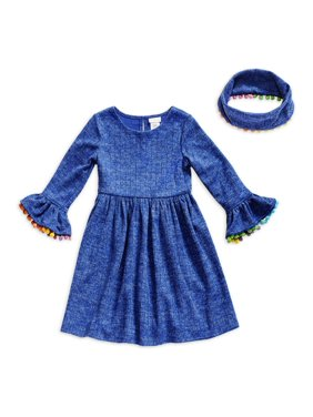 Youngland Girls Bell Sleeve Play Dress with Pom Pom Detail and Matching Scarf, Sizes 7-16