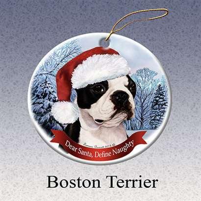 Boston Terrier Dog Ornament - Holiday Pet Gifts Boston Terrier Santa Hat Dog Porcelain Christmas Tree Ornament