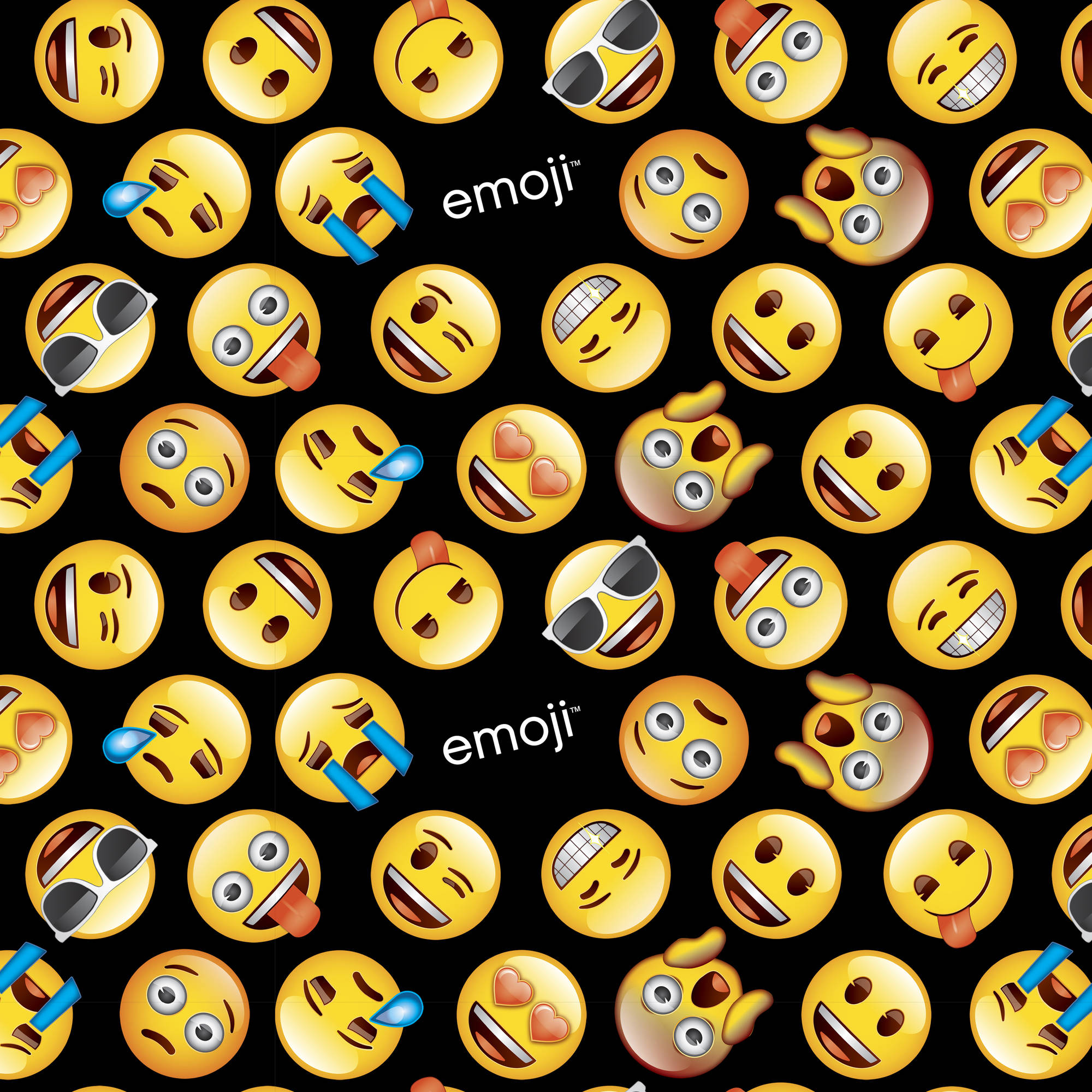 "Classic Emoji Cotton Fabric By The Yard, 44/45"" W, Black/Yellow"