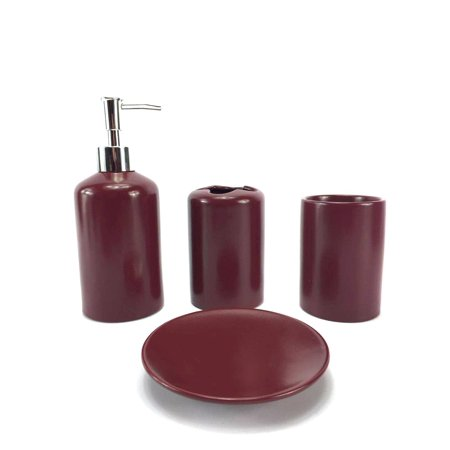 Wpm 4 Piece Ceramic Bath Accessory Set Includes Bathroom Designer Soap Or Lotion Dispenser W Toothbrush Holder Tumbler Dish Choose From Purple