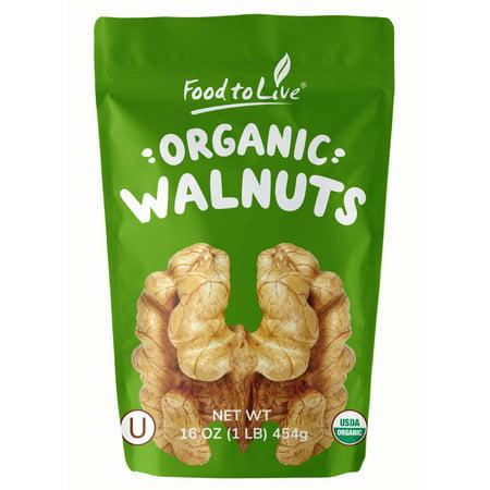 Organic Walnuts, 1 Pound - No Shell, Kosher, Non-GMO, Raw, Vegan - by Food to Live