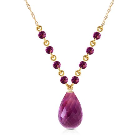 ALARRI 11.5 Carat 14K Solid Gold This Is Right Amethyst Necklace with 24 Inch Chain Length.