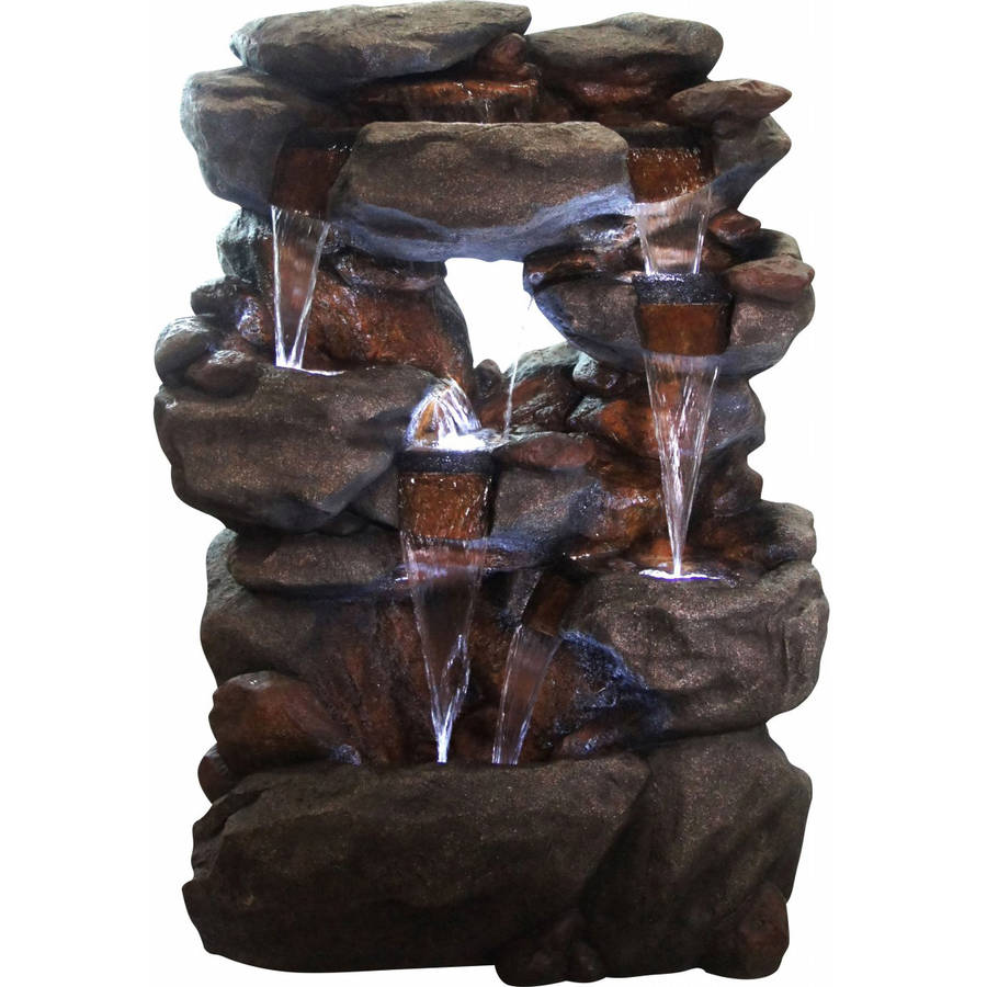 Polyresin 5-Tier Rock Fountain with 6 White LED Lights by Alpine Corporation