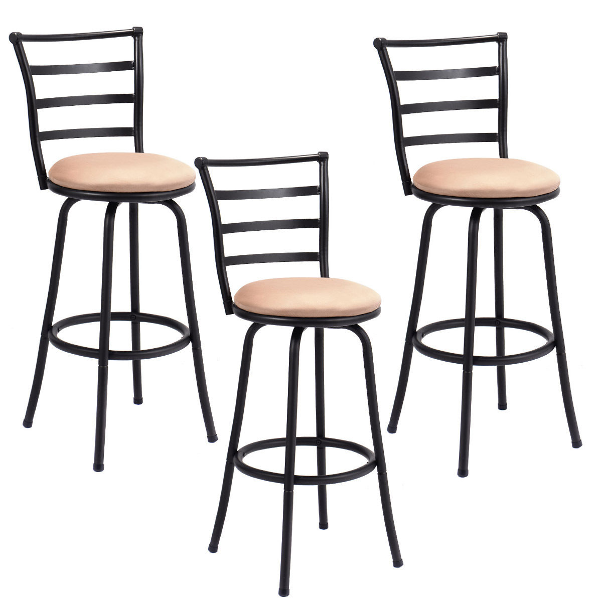 Costway Set Of 3 Swivel Bar Stools Steel Frame Counter Height Modern  Barstool Pub Chairs