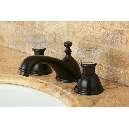 Kingston Brass Celebrity Celebrity Double Crystal Handle Widespread Bathroom Faucet with Brass Pop-Up Drain