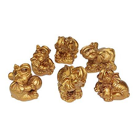 Gift Set 6 Gold Color Lucky Elephants Statues Feng Shui Figurine