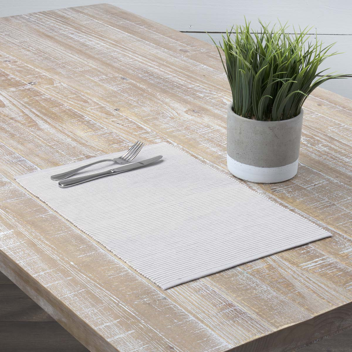 Dusty Shale Grey Farmhouse Tabletop Kitchen Ashton Cotton Striped Rectangle Placemat Set of 6