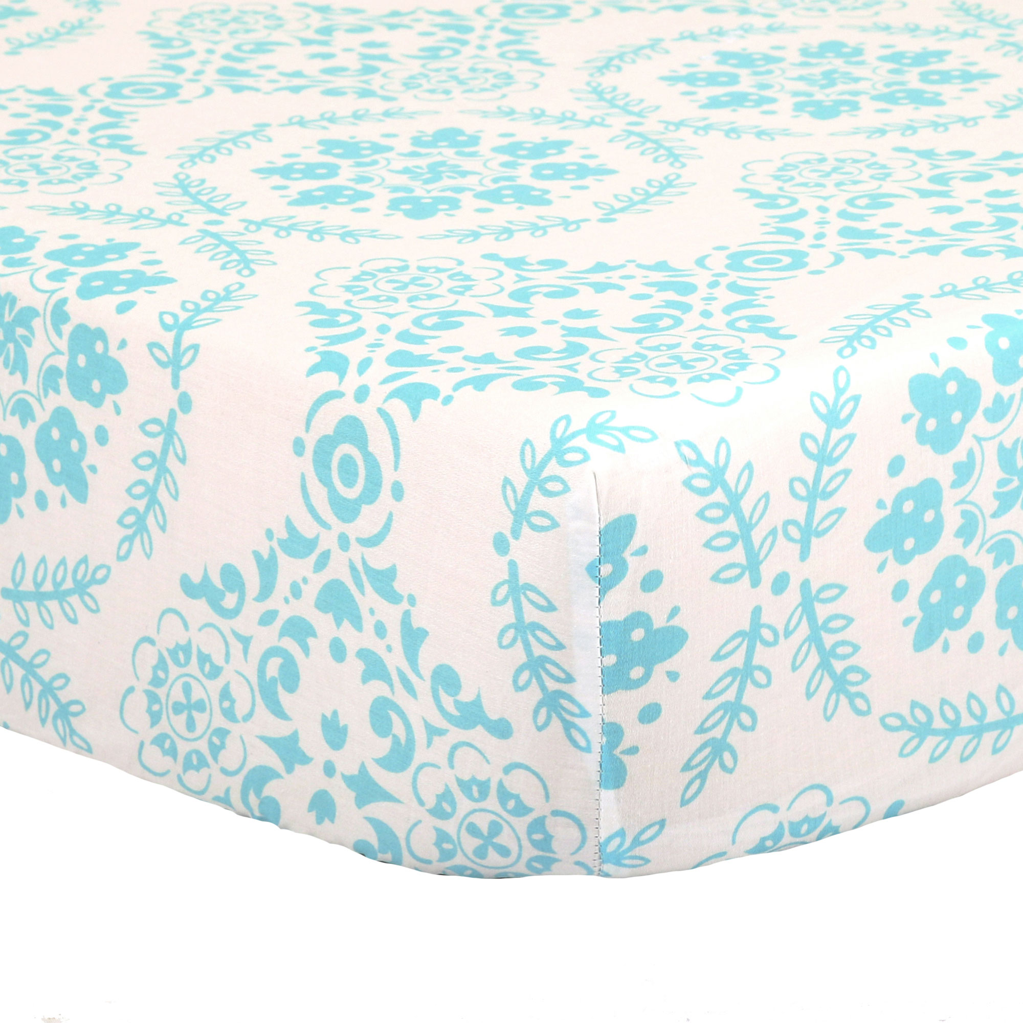 The Peanut Shell Baby Crib Fitted Sheet Turquoise Teal