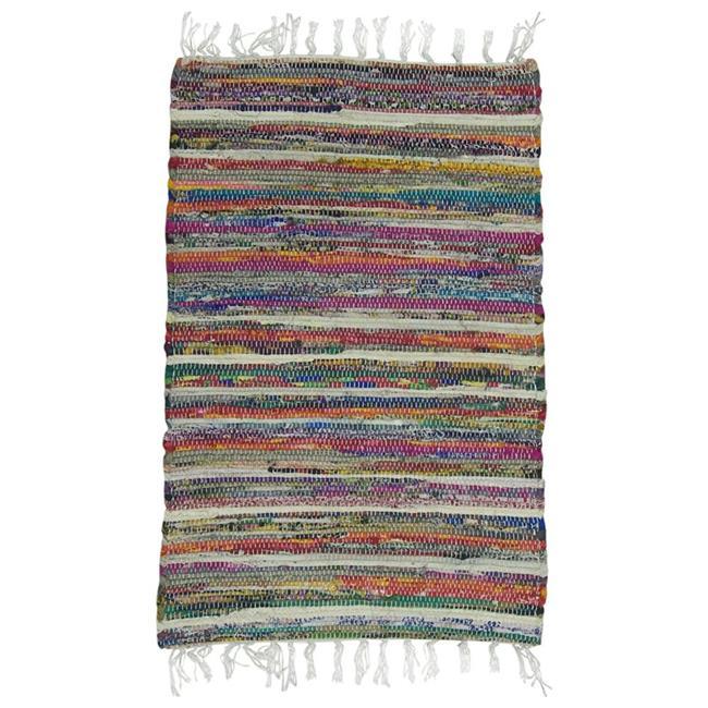 Benzara CHN-CHB024-1 Rainbow Chindi Rag Rug, Multi-Color - 1 x 20 x 32 - image 1 de 1