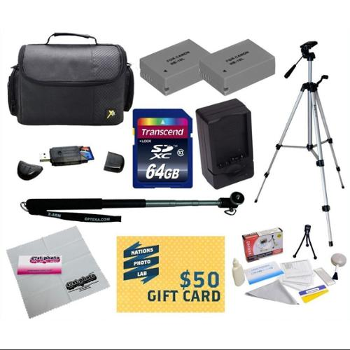 Best Value Point & Shoot Kit for Canon PowerShot G15 G16 G1 X Digital Camera with 2 Replacement NB-10L Battery + Charger + Monopod + Tripod + 64GB SDHC Card + Carrying Case +$50 Photo Gift CardMore