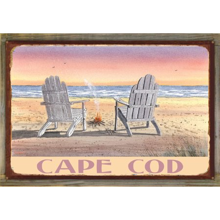 Cape Cod Massachusetts Adirondack Chairs Beach Rustic Metal Print on Reclaimed Barn Wood by Dave Bartholet (24