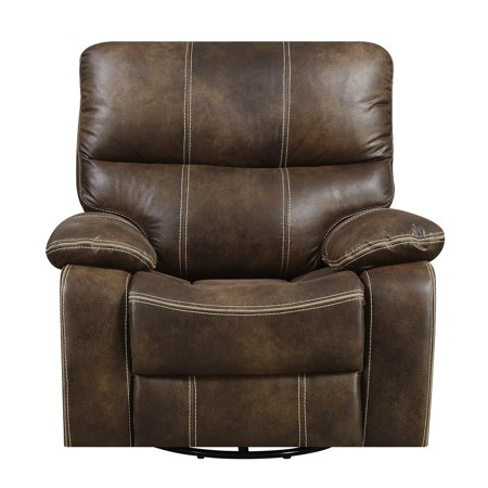 Emerald Home Jessie James Chocolate Brown Swivel Recliner with Swivel, Glide, And Recline Motion