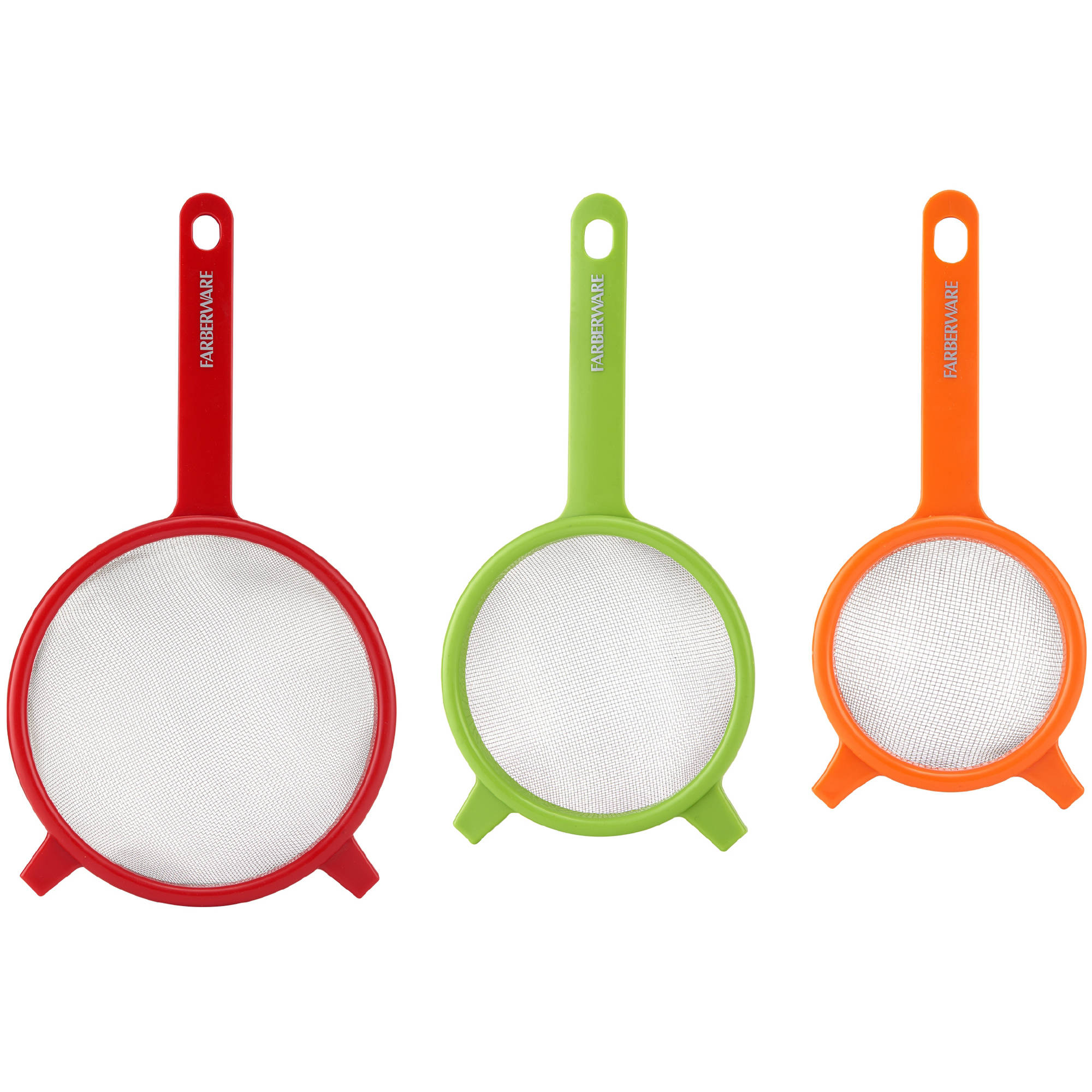 Click here to buy Farberware Set of 3 Strainers. Red, Green and Orange by Lifetime Brands.