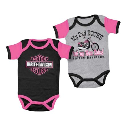 Harley Davidson Baby S Mom Rules Creeper Set 2 Pack Gray Black 3000555