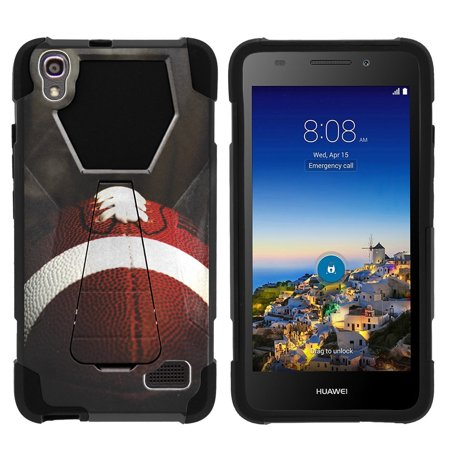 Case for Huawei Pronto LTE | Huawei SnapTo LTE Hybrid Cover [ Shock Fusion ] High Impact Shock Resistant Shell Case + Kickstand - Football Lace Close Up