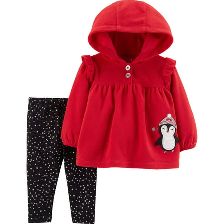 Girl Greaser Outfits (Hooded Long Sleeve Babydoll Fleece Top & Leggings, 2-Piece Outfit Set (Toddler)