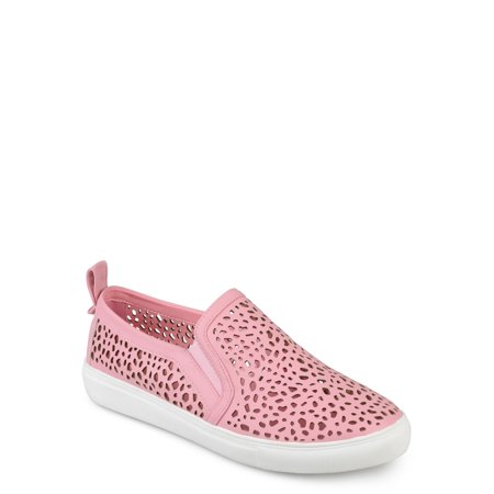 5addf32e27775 Womens Faux Leather Slip-on Laser-cut Sneakers