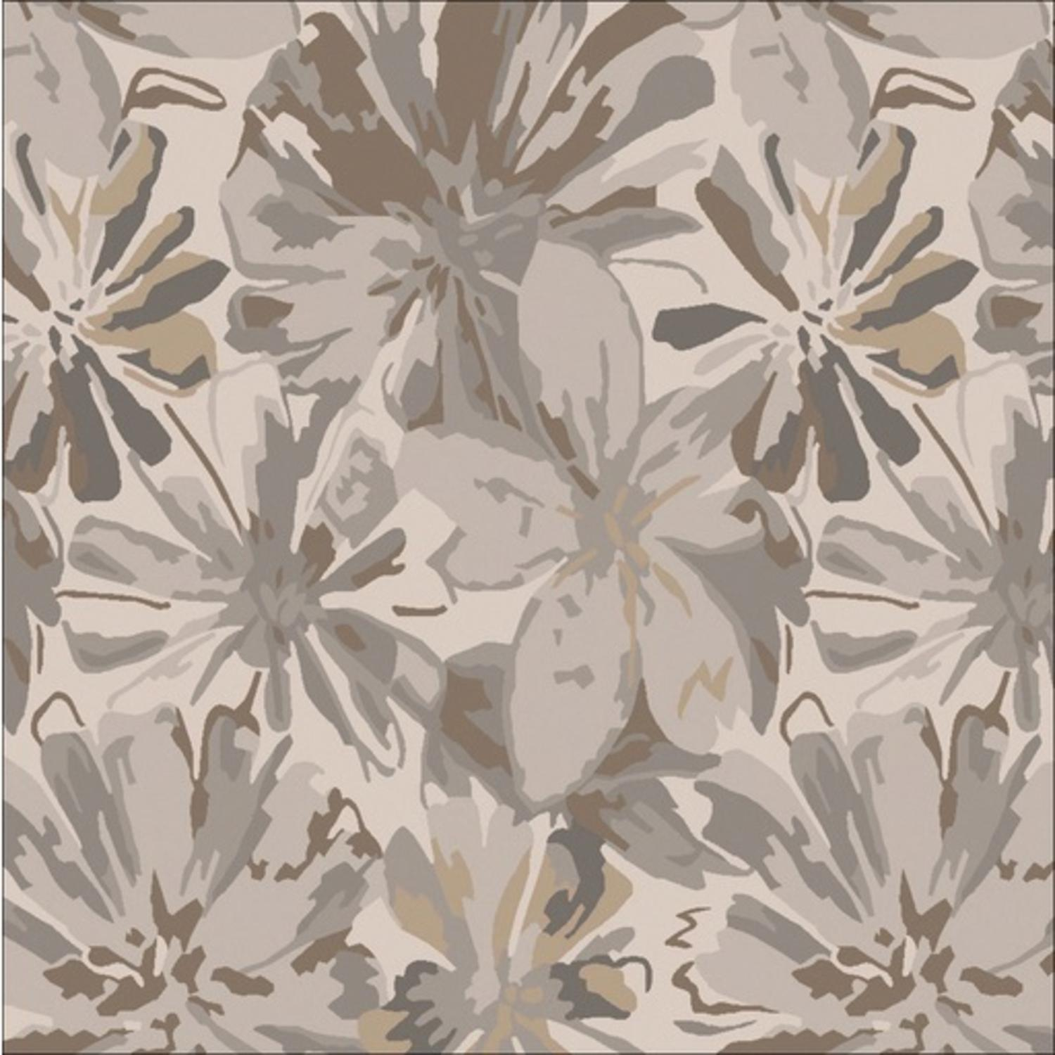 9.75' x 9.75' Daisy Dream Gray, Brown and Beige Flower Square Hand Tufted Wool Area Throw Rug