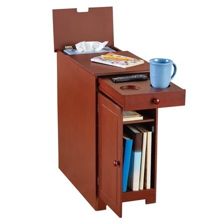 Flip Top Cafe Table - Wood Multi-use Side Table With Flip Top And Drawer
