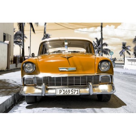 Cuba Fuerte Collection - Orange Chevy Print Wall Art By Philippe