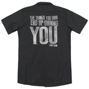 Fight Club Action Movie End Up Owning You Adult Black Back Work Shirt Tee