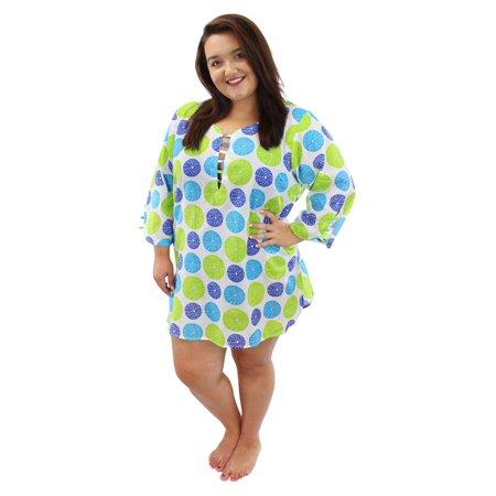 8950aee1ff1 Luxury Divas - Blue   Green Polka Dot Plus Size Sundress Cover Up -  Walmart.com