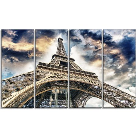 Design Art 'The Paris Eiffel Tower View from Ground' 4 Piece Wall Art on Wrapped Canvas Set