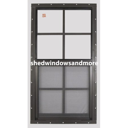 Shed Window 14 X 27 Brown Flush Safety Glass Playhouse Window (Tempered Safety Glass Window)