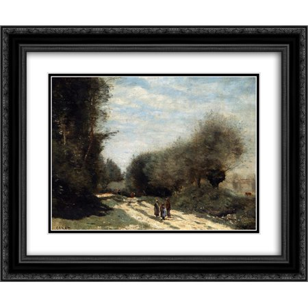 Camille Corot 2x Matted 24x20 Black Ornate Framed Art Print 'Crecy en Brie Road in the Country'