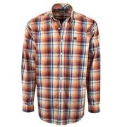 Cinch Western Shirt Mens L/S Weave Button Plaid Coral MTW1104106