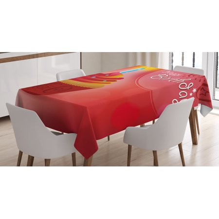 60th Birthday Decorations Tablecloth, Abstract Sun Beams Backdrop Party Cupcake with Frosting, Rectangular Table Cover for Dining Room Kitchen, 60 X 84 Inches, Ruby Red and Orange, by Ambesonne - Ltm Party