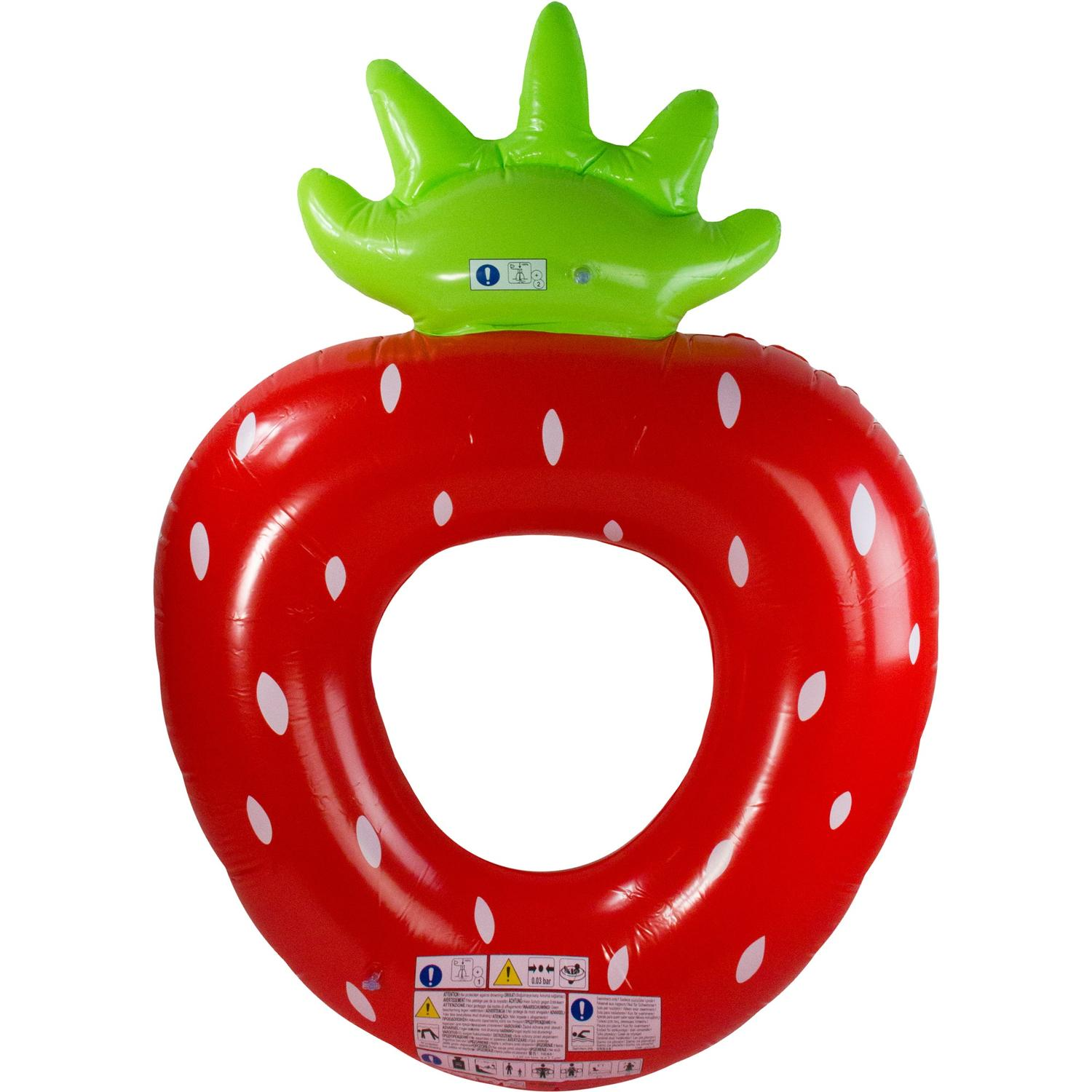 Red, White and Green Inflatable Strawberry Shaped Swimming Pool Float