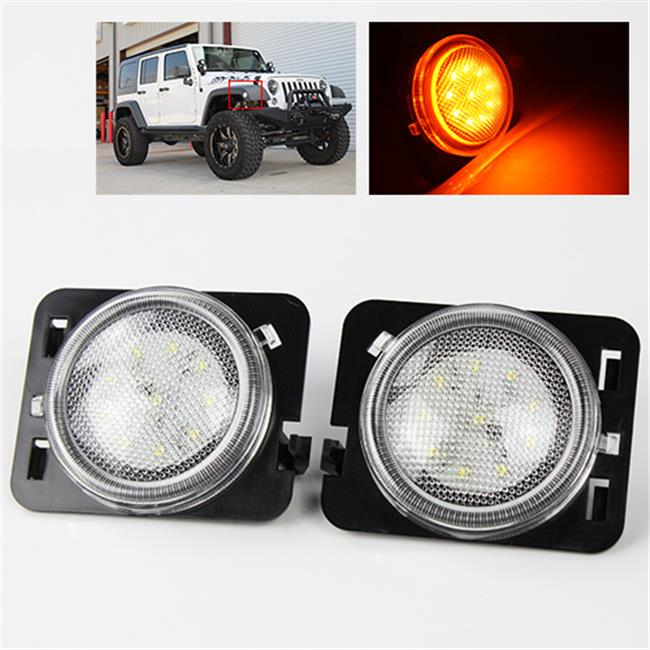 TurboMetal Clear LED Side Marker Lights for Jeep JK 2007-2015 - Amber