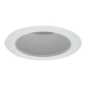 (Halo 5102WB 5 Inch Tapered Full Cone Metal White Baffle Trim Self Flanged Round White)