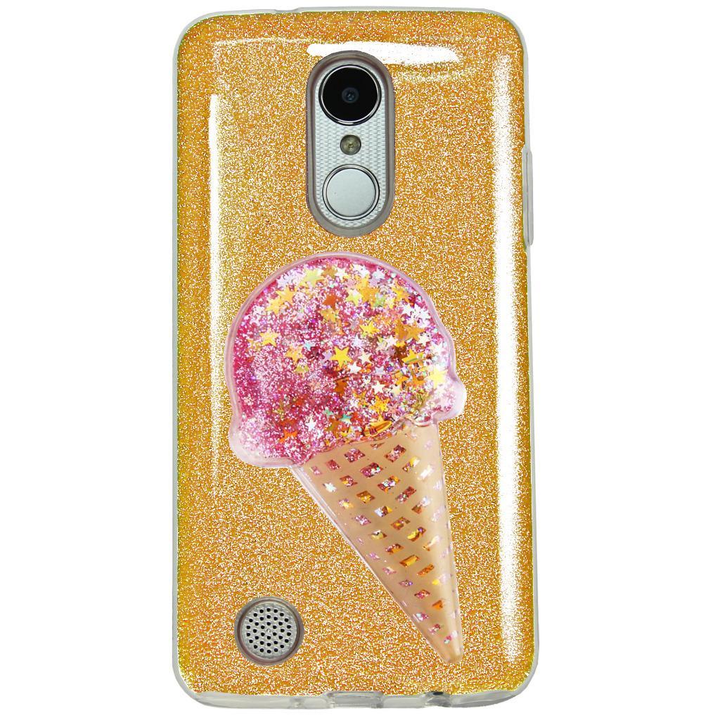 For LG Aristo / LG Fortune / LG Risio 2 / LG Rebel 2 / LG K4 2017 / LG K8 2017 / LG Phoenix 3 LV3 Case Hybrid Glitter TPU Phone Cover + Ornament (Glitter Gold/Liquid Glitter Ice Cream Pink)