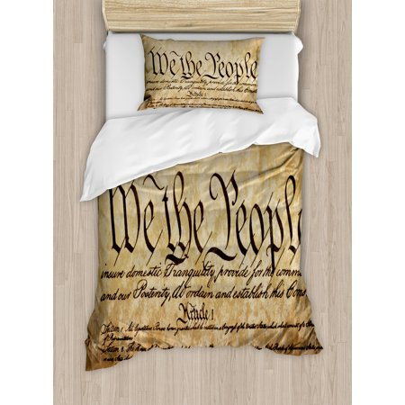 United States Twin Size Duvet Cover Set, Vintage Constitution Text of America National Glory Fourth of July Image, Decorative 2 Piece Bedding Set with 1 Pillow Sham, Light Brown, by Ambesonne (Size Of America)