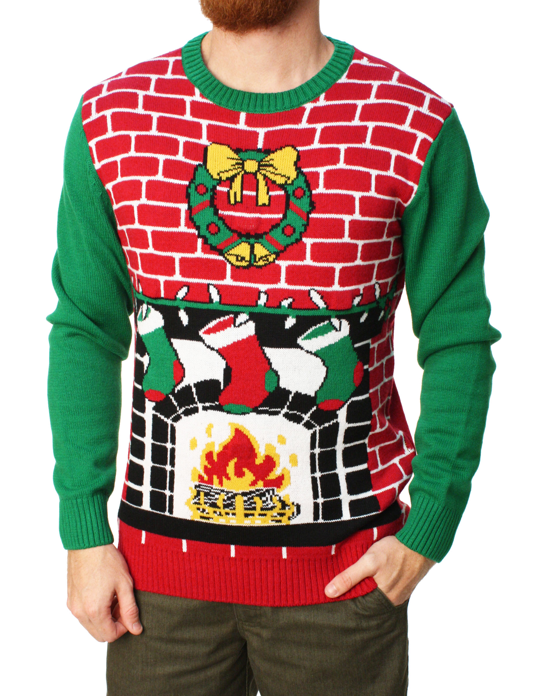 d91bb33bf5c Ugly Christmas Sweater - Ugly Christmas Sweater Men s Fireplace Is Lit  Light Up Sweater-Large - Walmart.com
