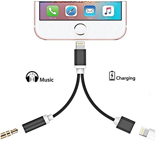 iPhone 7 Adapter ,CACO MALL iphone 7 Plus Adapter Lightning to 3.5mm Aux Headphone Jack and Charger Cable for iPhone 7 / 7 plus-BLACK