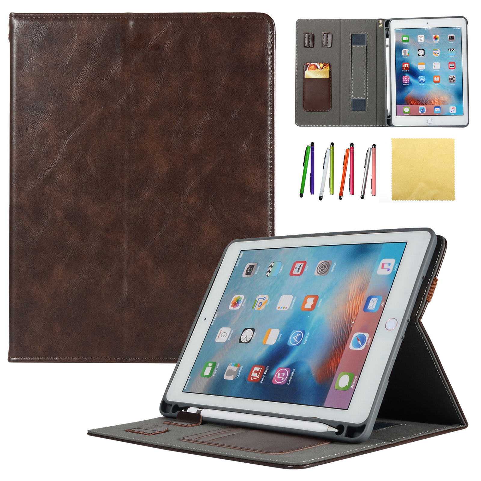 New iPad 9.7 2018 & 2017,iPad Pro 9.7, iPad Air 1 / 2 Kids Case, Goodest Stand Smart Covers w/ Auto Sleep/Wake & Pencil Holder for Apple iPad 6th Gen/ iPad 5th Gen/ Air 2 1/ Pro 9.7, Coffee