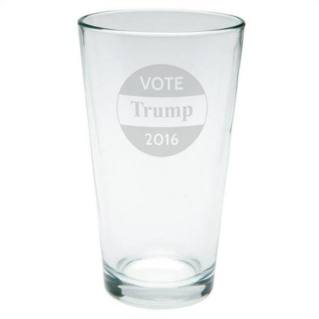 Election 2016 Vote Donald Trump Button Etched Pint - 2016 Glasses