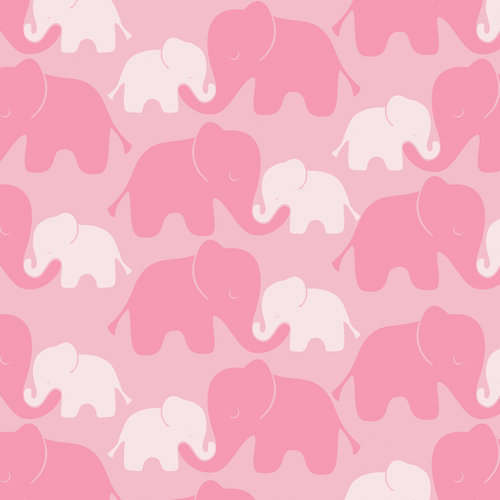 "Emma & Mila Cotton Flannel 42"" Elephants in Pink Fabric, per Yard"