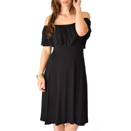 Wait and See Off the Shoulder Midi Dress
