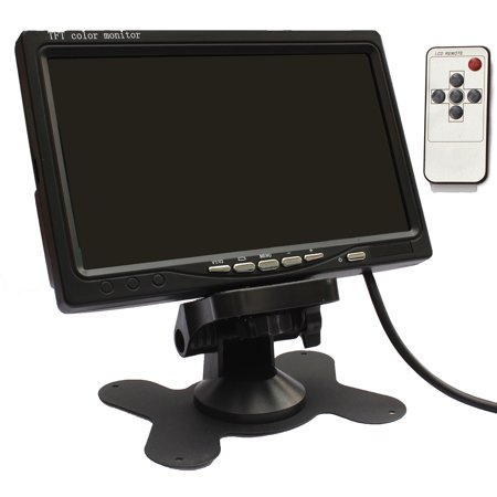 LotFancy Reverse Monitor   Rear View Car Monitor Parking System, 7  TFT LCD Swivel Screen for DVD VCR, 2 Video Input, Swivel Stand & IR Remote Included