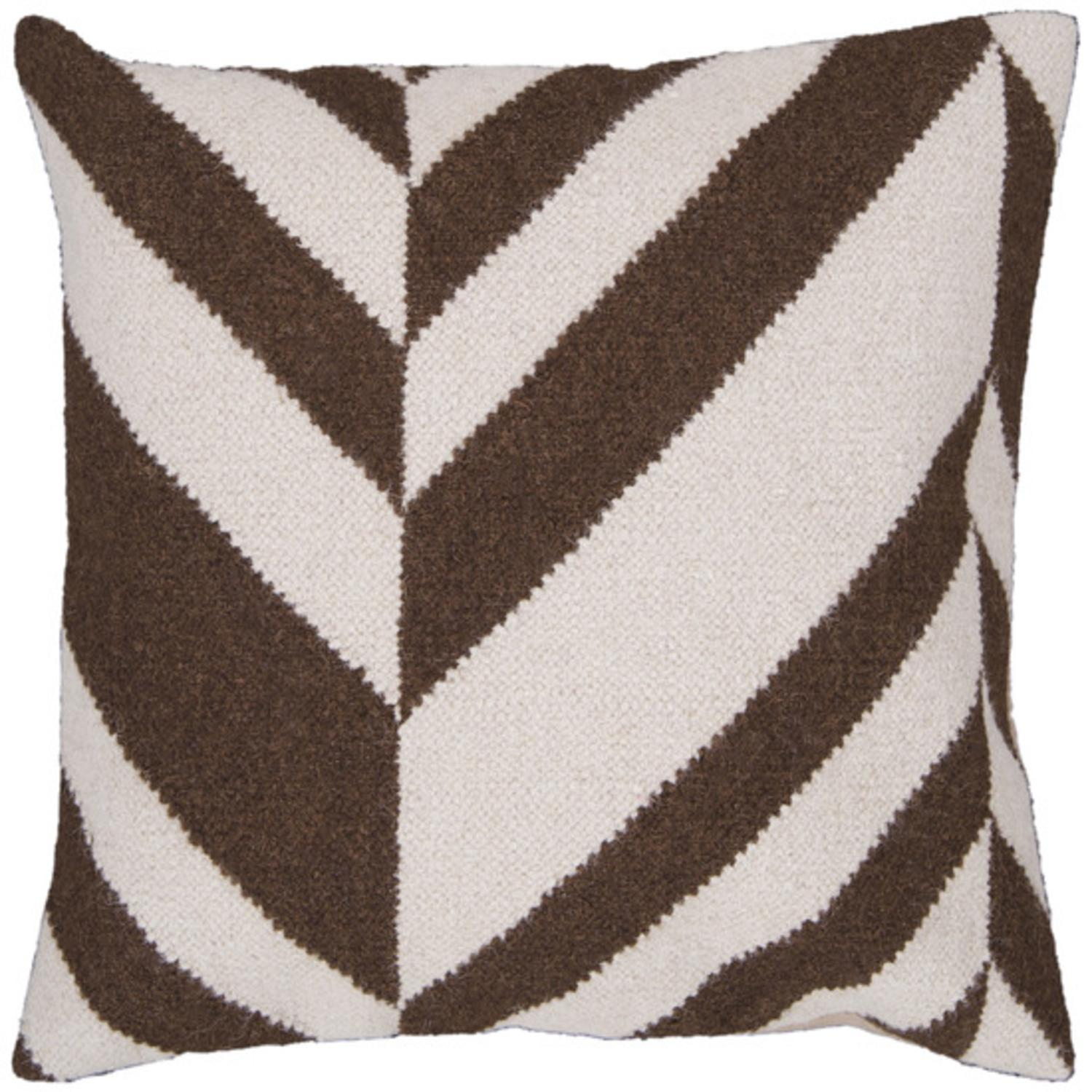 "18"" Coffee Bean Brown and Ivory Chevron Decorative Throw Pillow"