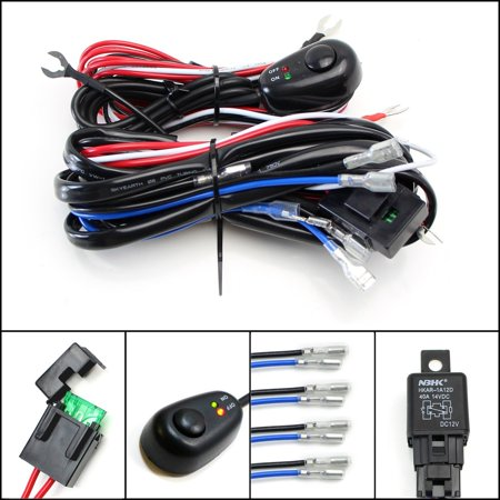 iJDMTOY 4-Output Universal Fit Relay Harness Wire Kit with LED Light ON/OFF Switch For Fog Lights, Driving Lights, HID Conversion Kit or LED Pod Light, Worklight, etc ()
