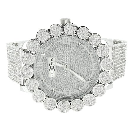 Flower Bezel Watch White Gold Finish Iced Out Diamond Dial Khronos Lab Diamond Bezel Roman Numeral (Watch Ice)