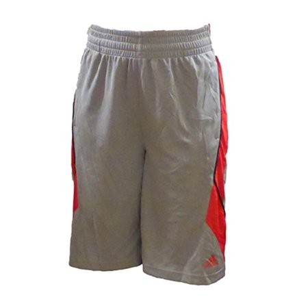 Adidas Boys Basketball Athletic Mesh Shorts (X-Large 18, Grey/Red)